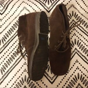 Keds brown leather box toe tie ankle boots 10m